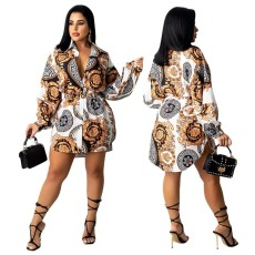 Retro Print Long Sleeve Belted Shirt Dress CY-7056
