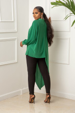 Solid Long Sleeve Irregular Top And Pants Two Piece Sets CY-6539