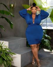 Plus Size Solid V Neck Long Sleeve Ruched Bodycon Dress JGEF-063