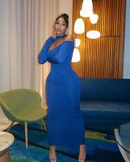 Sexy Solid Long Sleeve Off Shoulder Slim Maxi Dress YUYF-6116