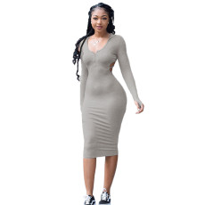 Solid Sexy Hooded Backless Slim Midi Dress YUYF-6114