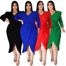 Plus Size Solid V Neck Long Sleeve Midi Dress NNWF-7359