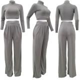 Solid High Collar Long Sleeve Wide Leg Pants 2 Piece Sets AL-268