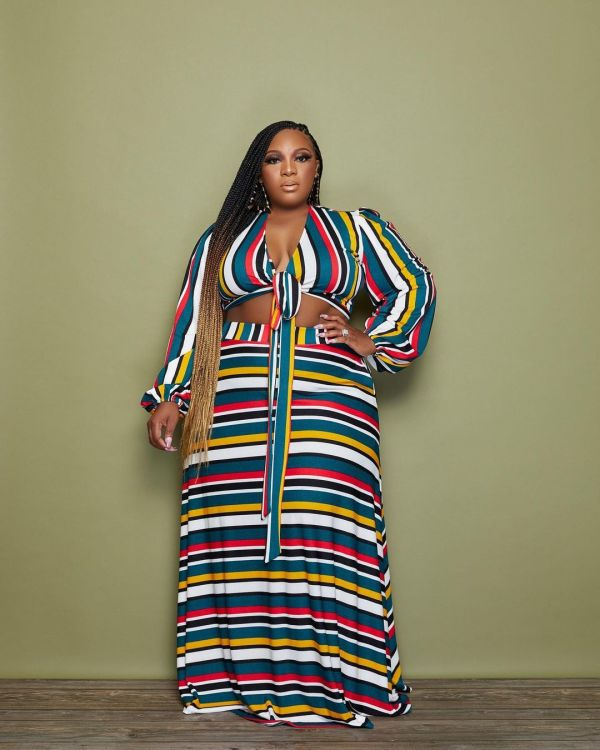 Plus Size Colorful Stripe Long Sleeve Maxi Skirt 2 Piece Sets CQF-90090