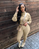 Solid Hooded Long Sleeve Two Piece Sets KYF-3102