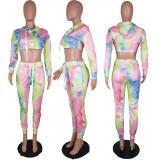 Tie Dye Print Hooded Crop Top And Pants Set ABF-3025
