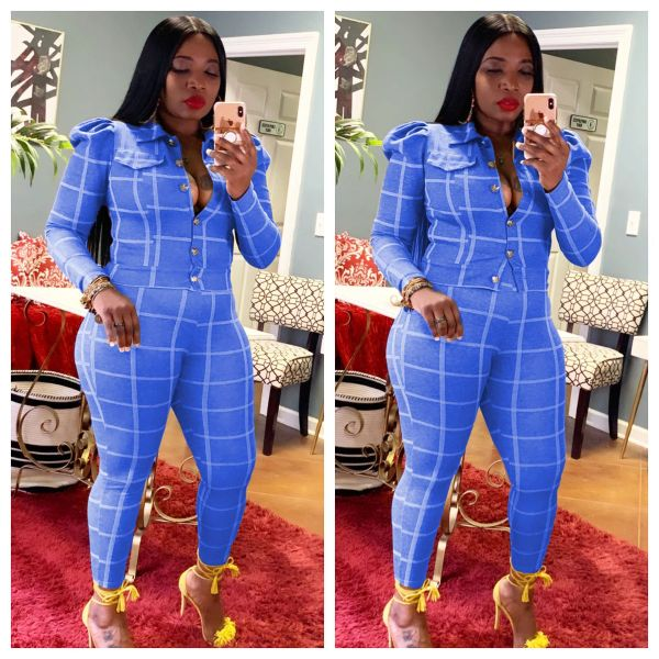 Plaid Long Sleeve Casual Two Piece Sets ABF-3103