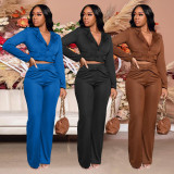 Casual Blazer Staight Pants Two Piece Suits CQF-90089