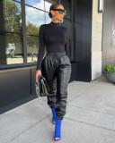 PU Leather Casual Pants FNN-8642
