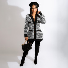 Houndstooth Full Sleeve Casual Coat MEI-9212