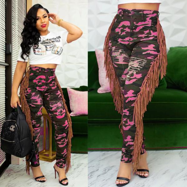 Denim Camo Print Hole Tassel Jeans Pants CM-2161