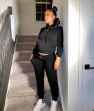 Solid Sports Fleeced Hoodie Sweatpants 2 Piece Suits MIL-L274
