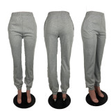 Solid Casual Sports Pocket Loose Pants ABF-3101