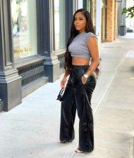 Black PU Leather Pocket Wide Leg Pants BGN-211