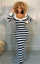 Sexy Striped Long Sleeve Bodycon Mermaid Maxi Dress PIN-8618