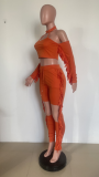 Sexy Tassel Hollow Long Sleeve 2 Piece Pants Set HMS-5518
