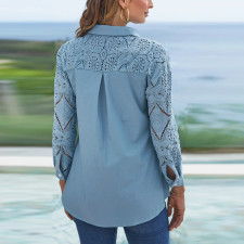 Plus Size Lace Patchwork Button Blouse Top CYA-1734