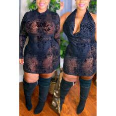 Plus Size Sexy Mesh Long Sleeve Zipper Bodycon Mini Dress CYA-1760