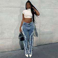 Casual Denim Tassel Burr Straight Jeans SZF-1006