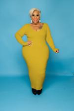 Plus Size Ribbed Long Sleeve Slim Maxi Dress WY-7119