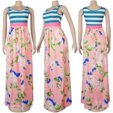 Fashion Printed Side Zip Sleeveless Maxi Dress FSXF-180
