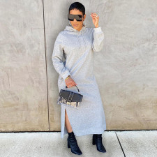 Solid Casual Hooded Split Maxi Dress GLF-10064