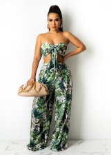 Sexy Printed Wrap Chest Wide Leg Pants 2 Piece Sets XMY-9319