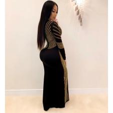 Plus Size Sexy Hot Rhinestone Round Neck Split Long Sleeve Nightclub Dress NY-8882