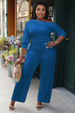 Sexy Solid Off Shoulder 3/4 Sleeve Straight Jumpsuit LINW-9327