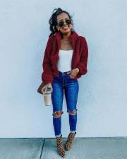 Autumn Winter Zipper Plush Solid Color Coat Tops NY-8858