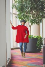 Plus Size Solid Color Loose Long Sleeve Dress NY-8844