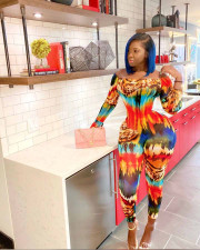 Sexy Off Shoulder Slim-fit Print Jumpsuit NY-2026