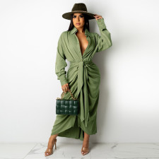 Solid Long Sleeve Buttons Sashes Maxi Dress FSXF-F318