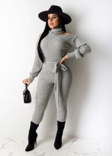 Solid Color High Neck Long Sleeve Jumpsuits NY-8876