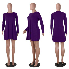 Casual Solid Color Round Neck Dress NY-YMX058