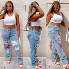 Denim Ripped Hole Printed Straight Jeans SZF-1011