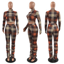 Plus Size Plaid High Collar Long Sleeve Stacked Pants 2 Piece Sets HGL-1739