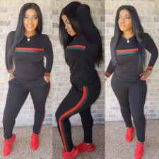 Plus Size Red Green Striped Sports 2 Piece Sets HGL-1050