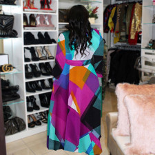 Plus Size Casual Printed Long Sleeve Sashes Maxi Dress HGL-1676
