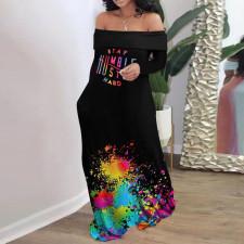 Plus Size Lip Print Slash Neck Long Sleeve Maxi Dress HGL-1688