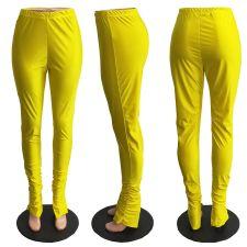 Plus Size Solid Split Skinny Stacked Pants HGL-1752