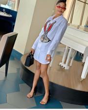 Rabbit Print Pearls Long Sleeve Shirt Dress YUEM-66988