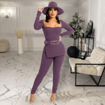 Solid Long Sleeve Split Top And Pants 2 Piece Sets GLF-10071