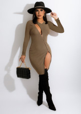 Sexy Ribbed Long Sleeve Zipper Bodycon Dress LQ-055