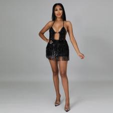 Sexy Sequin Tassel Bra Top And Mini Skirt 2 Piece Sets CYA-9311