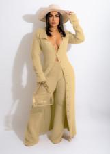 Casual Plush Long Coat+Pants Two Piece Sets LSD-81065
