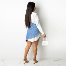 Plus Size Sexy Denim Patchwork Irregular Mini Dress YA-9289