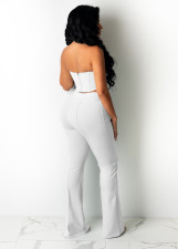 Sexy Solid Tube Top And Pants Two Piece Sets HNIF-2162