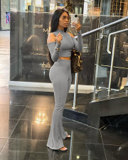 Solid Sexy Cold Shoulder Top Flared Pants 2 Piece Sets JPF-1057