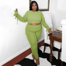 Solid Ribbed Long Sleeve Two Piece Pants Set TMF-80080